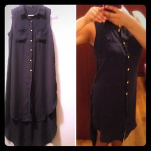 New Look hi-lo button down long Navy blue top